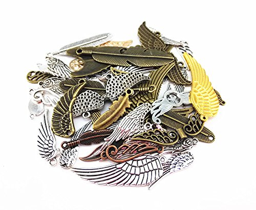 yueton 100 Gram (Approx 48pcs) Assorted DIY Antique Feather and Wing Charms Pendant Craft Making Accessory (Feather and Wing)