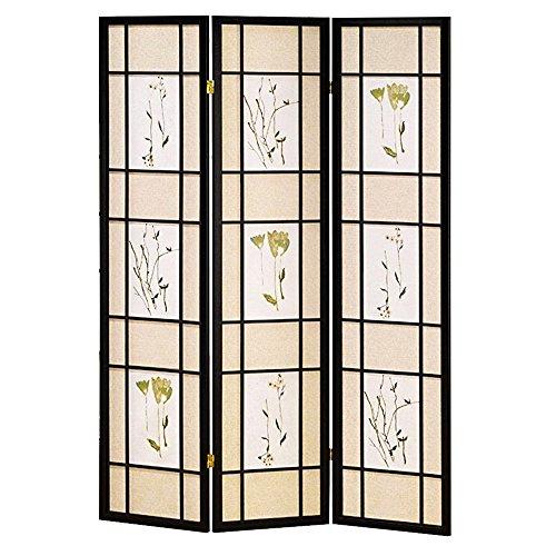 Hongville Shoji Floral Prints Screen Design Wood Framed Room Divider, 3 Panel, Black (Three Framed Panel Screen Black)