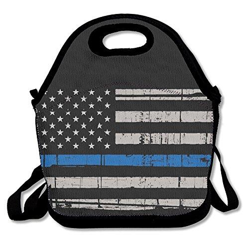 BEST4UZ American Thin Blue Line Flag lunch box borsa pranzo borsa porta pranzo con cinghia regolabile per bambini e adulti per scuola ufficio picnic Travel Outdoor scuola