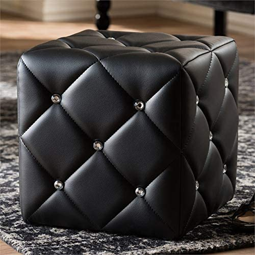 Baxton Studio Stacey 14″ Square Faux Leather Ottoman