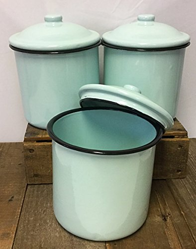 Vintage Style Metal Enamelware Canister Three Piece Set Classic Turquoise Blue Country Cabin Farmhouse Log Home or Stylish Rustic (Enamelware Canister)