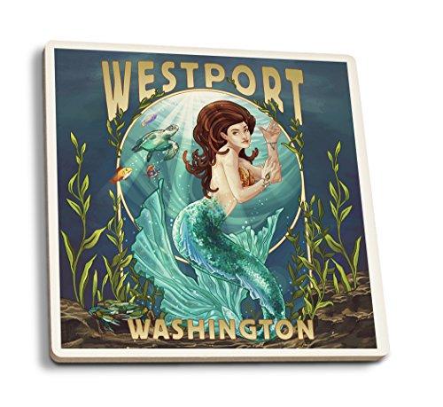 Westport, Washington - Mermaid (Set of 4 Ceramic Coasters - Cork-backed, (Westport Coffee Table)