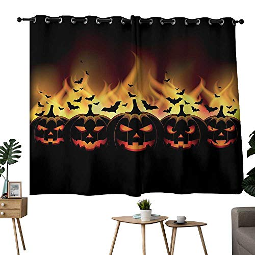 Decorative Curtains For Living Room Vintage Halloween,Happy Halloween Image with Jack o Lanterns on Fire with Bats Holiday,Black Scarlet,for Room Darkening Panels for Living Room, Bedroom -