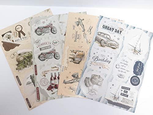 4 x A4 Debbi Moore Nostalgia Die-Cut Toppers Sentiments for Men AM568 Cardmaking