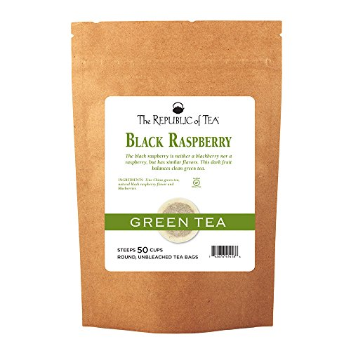The Republic Of Tea, Black Raspberry Green Tea Bags, 50 Tea Bag Refill