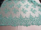 Mint French Design Embroider And Beaded On A Mesh Lace.Wedding/Prom/Fabric/yard.