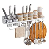 Multi-functional Aluminum Kitchen Tool Wall Shelf, Condiment Bottle Rack Utensil/Pot (23.6 inch)