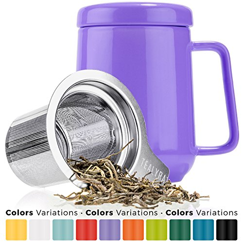 Tealyra - Peak Ceramic Purple Tea Cup Infuser - 19-ounce - Large Mug with Lid and Stainless Steel Infuser - Tea-For-One Perfect Set for Office and Home Uses - 580 milliliter (Tea Person One Set)