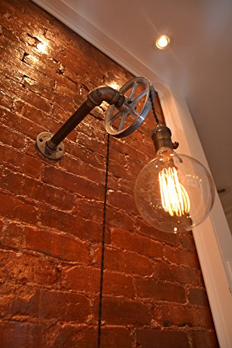 Iron Pipe Industrial Wall Pulley Light by West Ninth Vintage (1 Light)