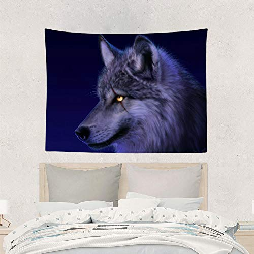 Jake Fashion Shop Galaxy Wolf Animal Tapestries Wall Art Hanging Tapestry, Beach Blanket Picnic Blanket Table Cloth Curtain for Dorm Room Above Bed Queen Bed Windows - 60x80