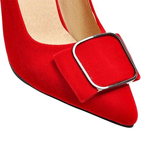 Fashion Heel Moda Puntiagudos Tacones de Aguja de Vestir con Tamaño Grande para Mujer Rojo