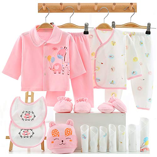 18pcs Newborn Girl Clothes Sets, 0-6 Months Infant Outfits, Premie Baby Cothes Girl Essentials Accessories (Pink)