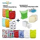 Babygoal Baby Adjustable Reuseable Pocket Cloth Diaper 12pcs Diapers+ 12pcs Microfiber Insert 12fn47-1