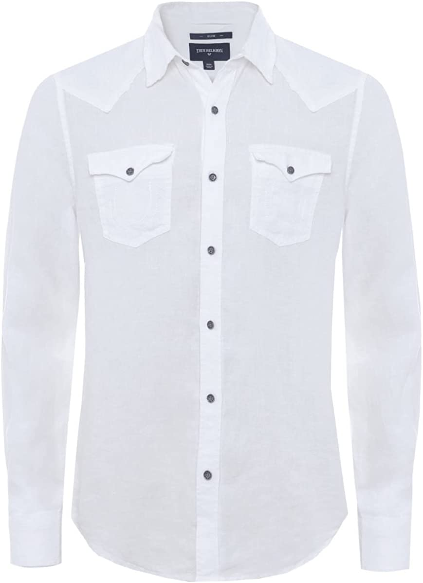 True Religion Slim Fit Camisa Occidental Lino Blanco: Amazon.es: Ropa y accesorios