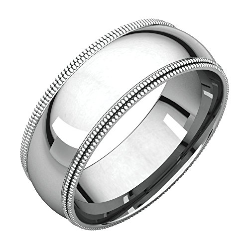 Bonyak Jewelry Palladium 7 mm Double Milgrain Comfort-Fit Band in Palladium - Size 8.5