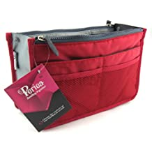 Periea Beauty Cosmetic Handbag Organizer Liner Insert 12 Compartments - Chelsy (Red, Large)