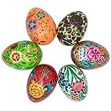 "3"" Set of 6 Garden Flowers Bouquet Wooden Pysanky Ukrainian Easter Eggs"