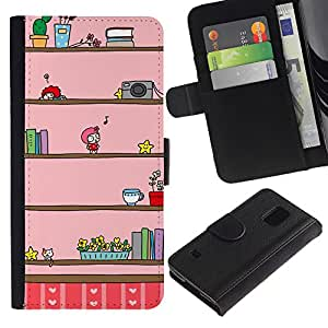 LASTONE PHONE CASE / Lujo Billetera de Cuero Caso del tirón Titular de la tarjeta Flip Carcasa Funda para Samsung Galaxy S5 V SM-G900 / Camera Music Kids Cartoon Drawing Pink