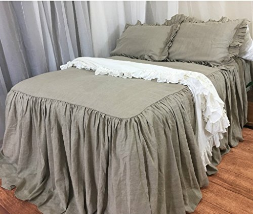 Dark Linen Bedspread handmade in natural linen, Dark Linen Bed Covers, No Dye, No Coloring, Linen Coverlet, Shabby Chic Bedding, Queen Bedspread, King Bedspread, FREE SHIPPING by SuperiorCustomLinens