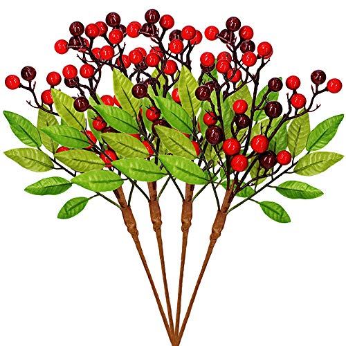 4 Pcs Artificial Red Berry Picks Red Berry Stems Berry Branches Spray Berry Sprigs Berry Twigs with Fake Green Leaves - 13.6 x 7.1 (LXW) for Christmas Holiday Season Winter Décor Floral Arrangement