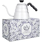 Stainless Steel Coffee & Tea Kettle: Gooseneck Pour Over Hot Water Brewing Kettles For Espresso and Black Tea - Ergonomic, Cordless, Insulated, Durable, Quick Boil Drip Pot - French Press Style Brew