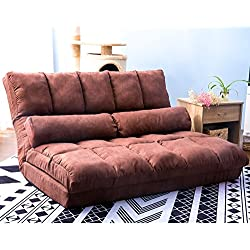 Harper&Bright designs Chaise Lounge Sofa Chair Floor Couch with Lumbar Cushion (Brown)