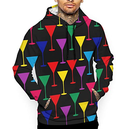 - Unisex Color Martini Glass Hoodies Cute Pullover Hood Jackets Sweatshirt