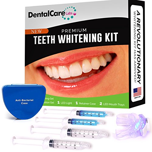 Premium Teeth Whitening Kit for Home use - Made in USA - Faster Results Than Tooth Whitening Strips, Pen and Toothpaste. Safe for Sensitive Teeth