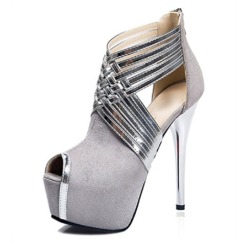 Femme Plateau Haut Sandales Chaussures Pour 031 Lsj Argent Talon Lsj 028 Gris qA1UF7Fw