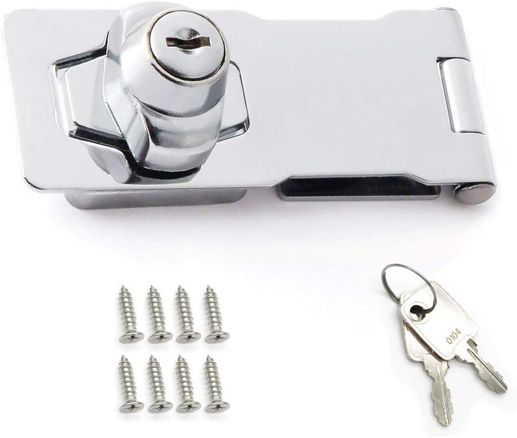 4 inch Keyed Hasp Lock, Twist Knob Keyed Locking Hasp for Doors Cabinets, Zinc Alloy Plated