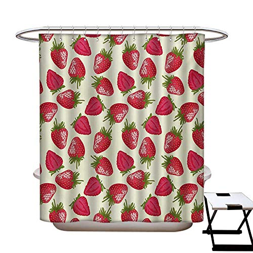 """Fruits Mildew Resistant Shower Curtain Liner Strawberries Vivid Growth Plant Vitamin Organic Diet Refreshing Image No Chemical Odor,Rust Proof Grommets Holes Eggshell Red Olive Green48×72"""""""
