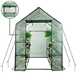 """Home-use Large Walk-in Greenhouse With PE Cover , Outdoor Gardening Organic Greenhouse For Grow Seeds , Seedlings , Succulents?3 Tiers 6 Shelves ( 56"""" W x 56"""" D x 77"""" H Inch )"""