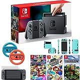 Nintendo Switch Console Gray Joy Con+Mario Kart 8 Deluxe,Super Mario Party + More Bundle