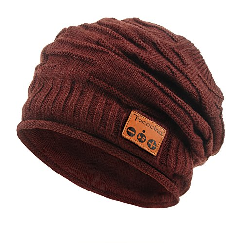 Pococina Unisex Soft Knit Smart Bluetooth Headset Beanie Hat Speakerphone Cap (Wine Red)