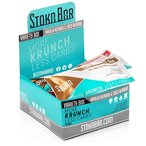 New! Stoka Bars - Keto, Paleo, Low Carb/Glycemic (VANILLA ALMOND & COCO ALMOND Variety Box) 4g Net Carbs, 9g Protein, 5g Fiber, All Natural - Sustained Energy! 8 Count