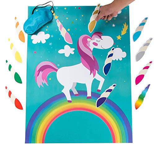 MISS FANTASY Pin The Horn on The Unicorn Birthday Party Favor Games Kids Party Supplies Unicorn Gifts for Girls Game Include a Large Poster 24 Reusable Sticker Horns Good for Big Parties -