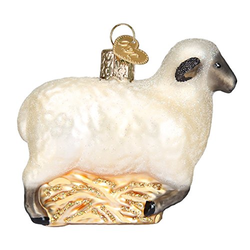 Old World Christmas Glass Blown Ornament with S-Hook and Gift Box, Zoo Animals Collection (Sheep)