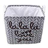Dolland Large Cotton Storage Bin Waterproof Coating Toy Storage Bin Collapsible Round Storage Basket Clothes Laundry Hamper,Ash Arrow