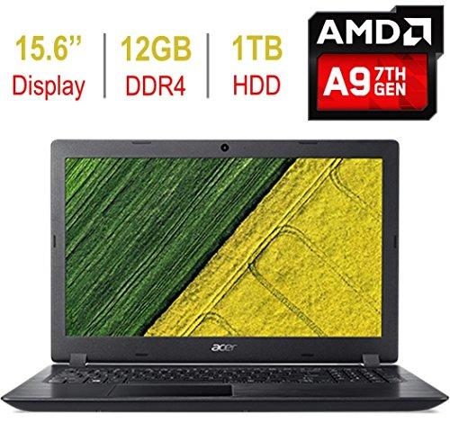 2018 Acer Aspire 3 15.6-inch HD (1366x768) Laptop PC, AMD A9-9420 3.0GHz Processor, 12GB DDR4 SDRAM, 1TB HDD, AMD Radeon R5 Graphics, 802.11ac, HDMI, Bluetooth, USB 3.0, Webcam, Windows 10