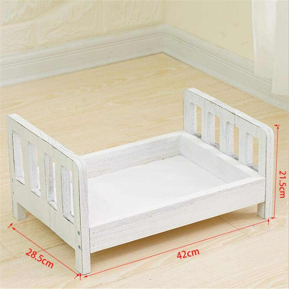 Dvotinst Newborn Photography Props for Baby Posing Bed Mini Cute Wood Cribs Accessories Infant Studio Shoot Photo Props (White)