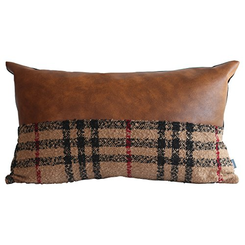 Kdays Tartan Brown Check Lumbar Pillow Cover Designer Modern Throw Pillow Cover Decorative Faux Leather Pillow Cover Handmade Cushion Cover 12x20 Inches