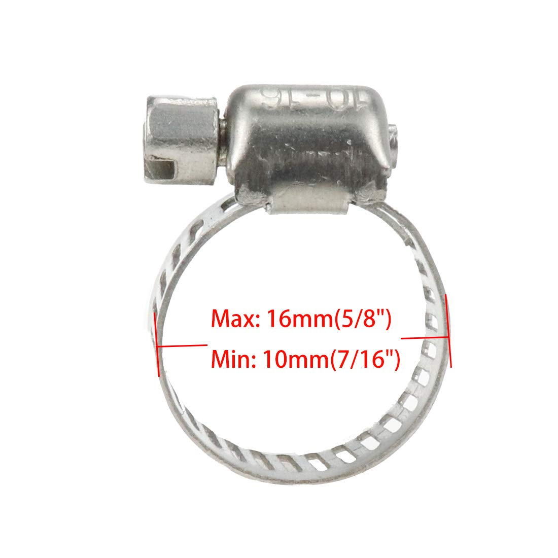 Air Hose Water Pipe Quluxe 304 Stainless Steel Hose Clamps Adjustable Pipe Tuube Clamps Minimum Diameter 7//16 Inch Maximum Diameter 5//8 Inch for Gas Hose Automotive Fuel Hose /& Water-tap Hose