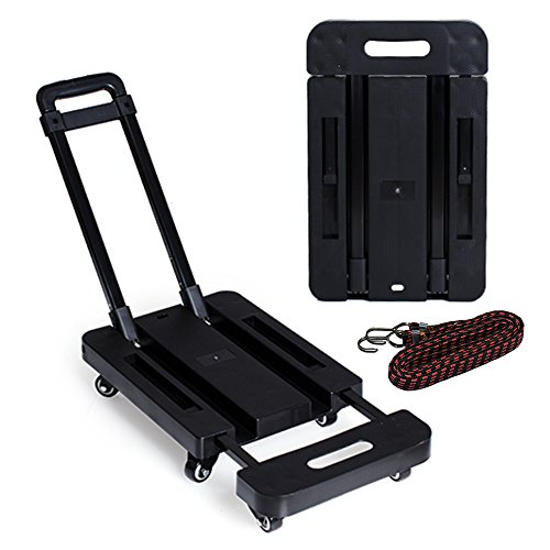 LOHOME 6 Wheels Folding Hand Trucks - 440 lb Load Foldable Luggage Cart Hand Collapsible Platform Trucks with Free Rope (Black) ()