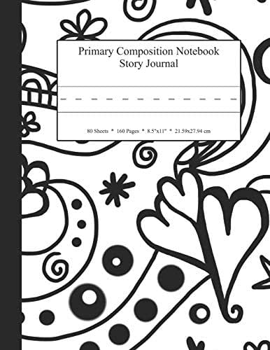 Primary Composition Notebook Story Journal: Educational Writing and Drawing Handwriting Activity Workbook (Black and White Heart Swirl Collage Cover)