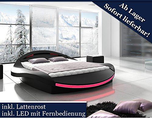 Designer bett led  XXXL Designer Bett Designerbett LED Beleuchtung Schwarz (Schwarz ...