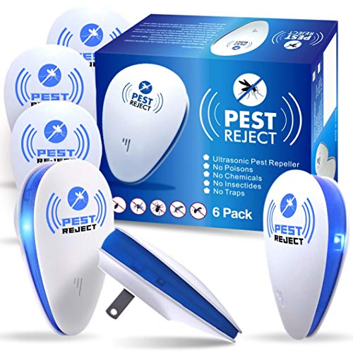 Ultrasonic Pest Repeller {6 Pack} Plug In, Bed Bug Killer, Electronic Mice Repellent, Roach Killer Indoor | Safe, No Harmful Chemicals, Non-Toxic | Effective Against Spiders, Cockroaches, Ants, Mouse