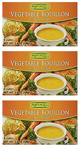 Rapunzel - Vegetable Bouillon Cubes - No Salt Added, 2.4 oz ( 3 Pack ) (Bouillon Vegetarian)