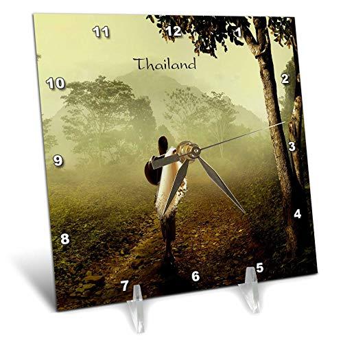 3dRose Lens Art by Florene - Worlds Exotic Places - Image of Village Man Walking Thru Countryside in Thailand - 6x6 Desk Clock - Village Dc Mens