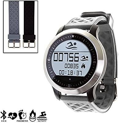 DAM - Smartwatch Sportswim F69 Con 2 Correas Intercambiables Gris. Compatible con Android e iOS. Sumergible. Incluye correas intercambiables en 2 ...