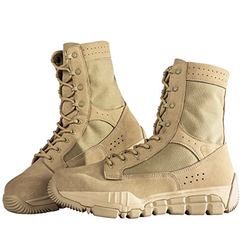 FREE SOLDIER Men's Suede Leather Tactical Boots Mid Cut Breathable Lightweight Hiking Shoes (Sand color, 10)